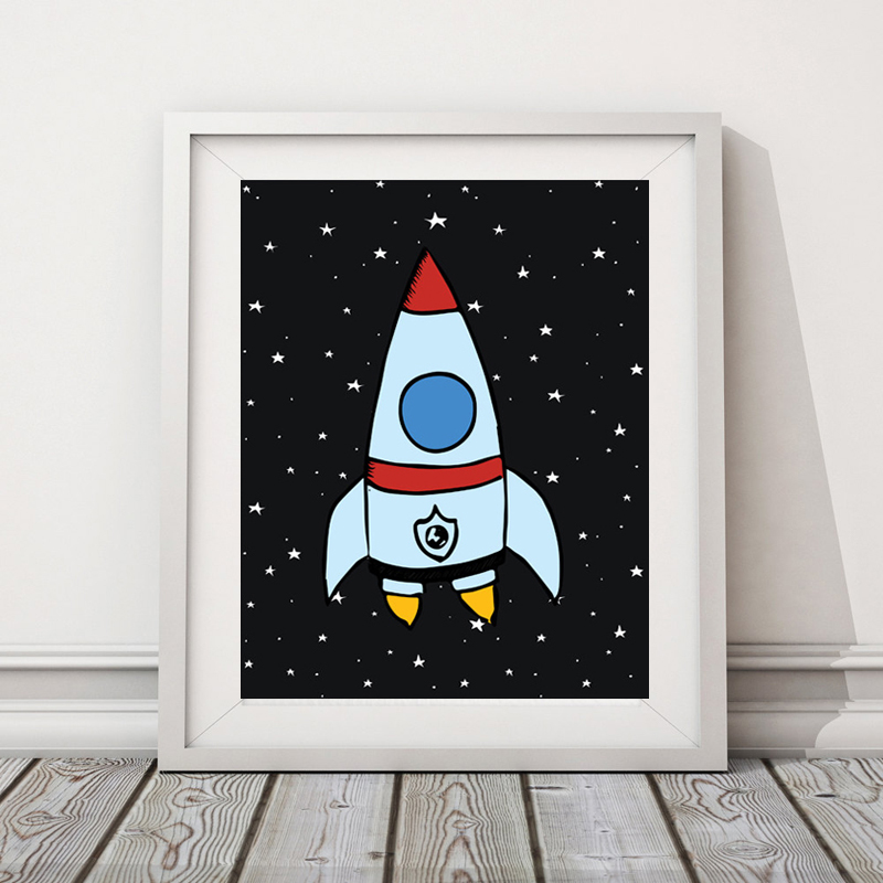 Rocket & Space Kids Poster Nursery Print Art Poster, Scandinavian Wall Picture Canvas Art Prints Kids Room Home Decor No Frame