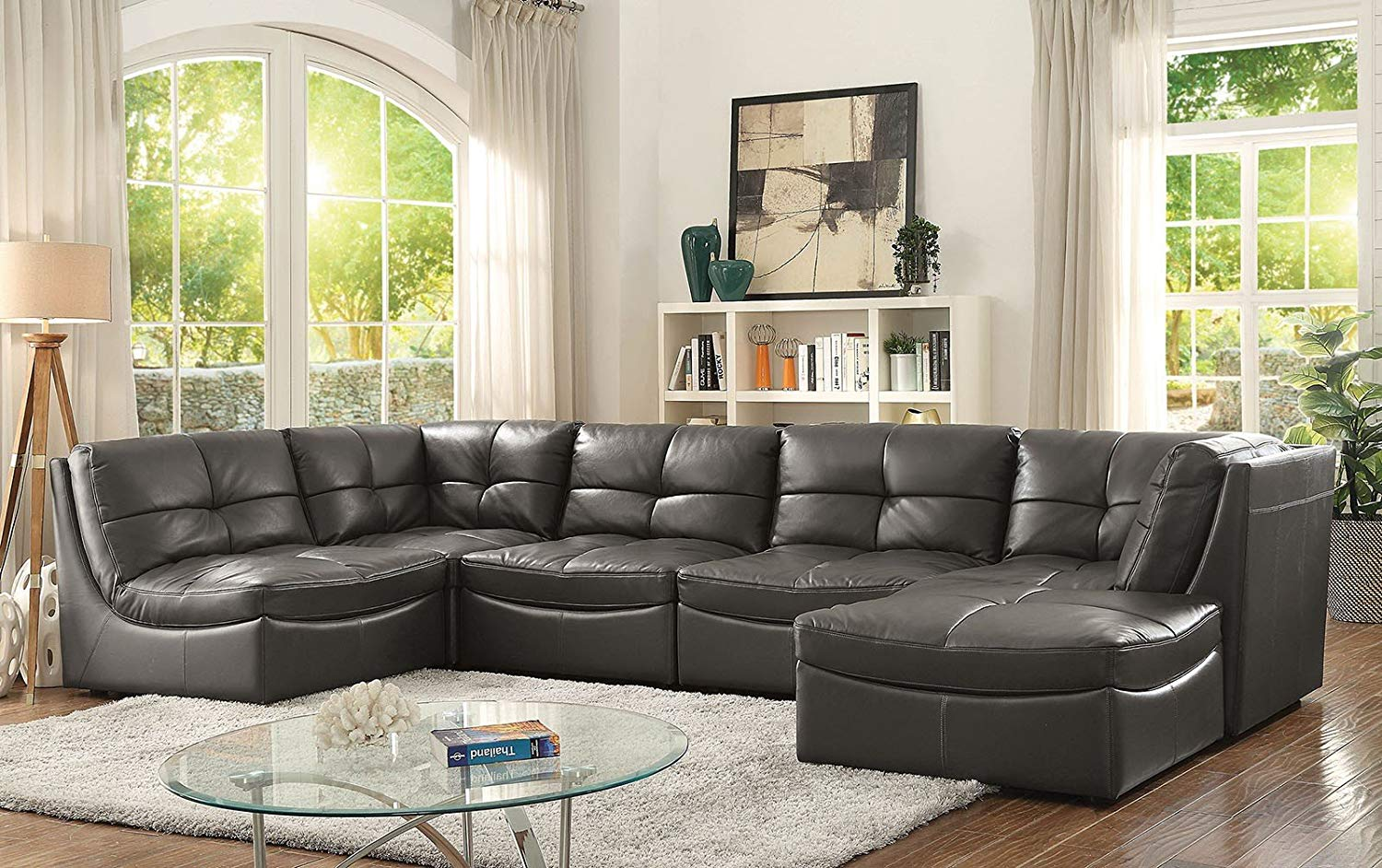 Esofa Living Room Furniture 6pc Modular Sectional Sofa Leather Gel Corner Chairs Tufted Cushion Couch