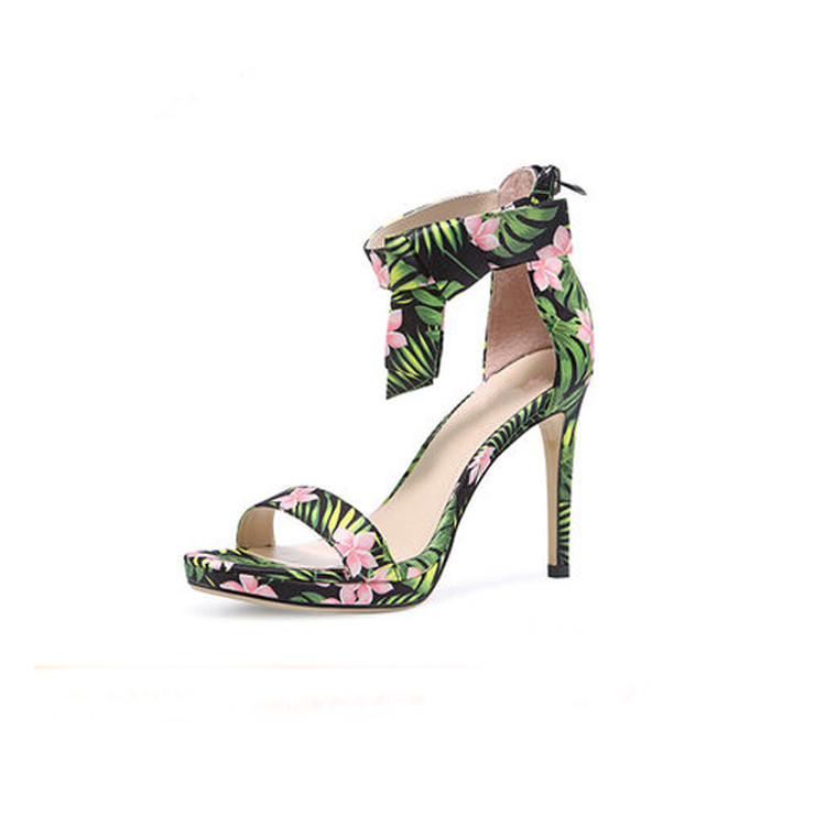 2018 New Fashionable Genuine Leather Green Women Party Dress Sandals