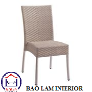 Outdoor use aluminum Rattan Furniture side chair with high backrest