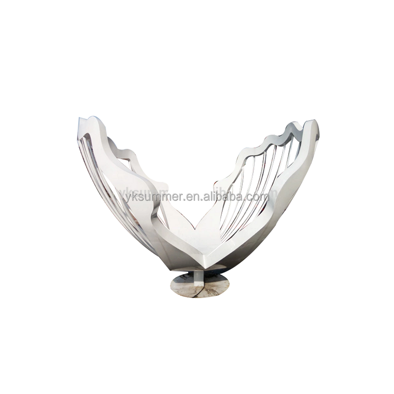 White paint stainless steel shell sculpture