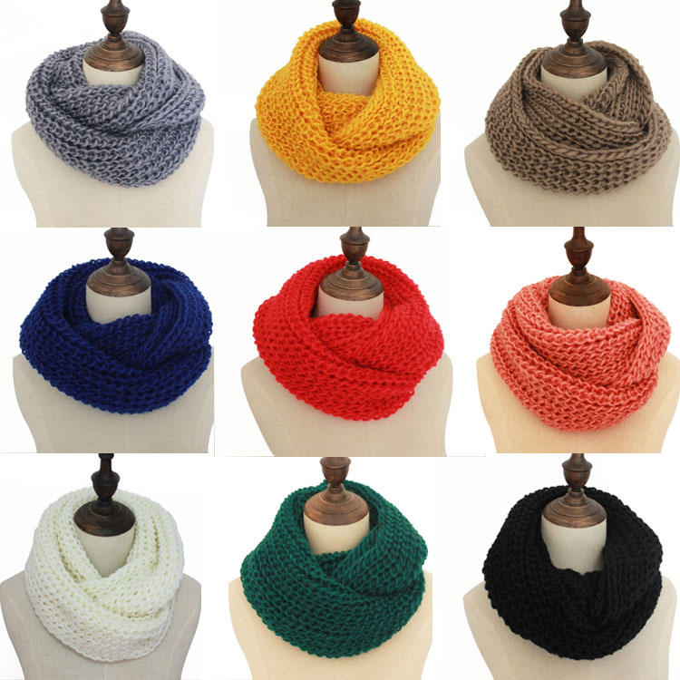 Fashion Circle Loop Colorful Scarves Thick Warm Women Winter Knit Infinity Scarf