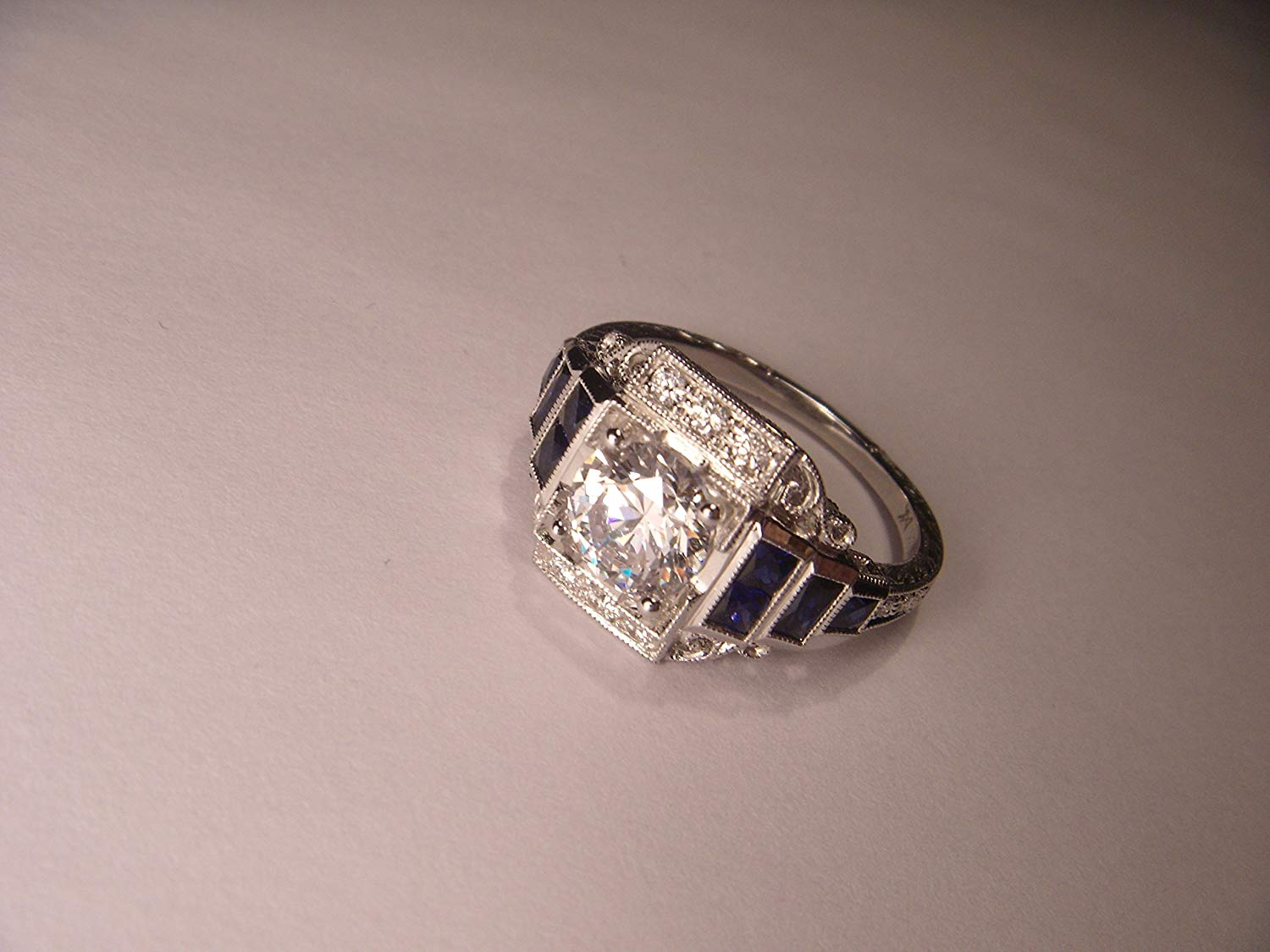 Antique Art Deco 18K White Gold 1.5 Carat Solitaire Diamond Engagement Ring Band