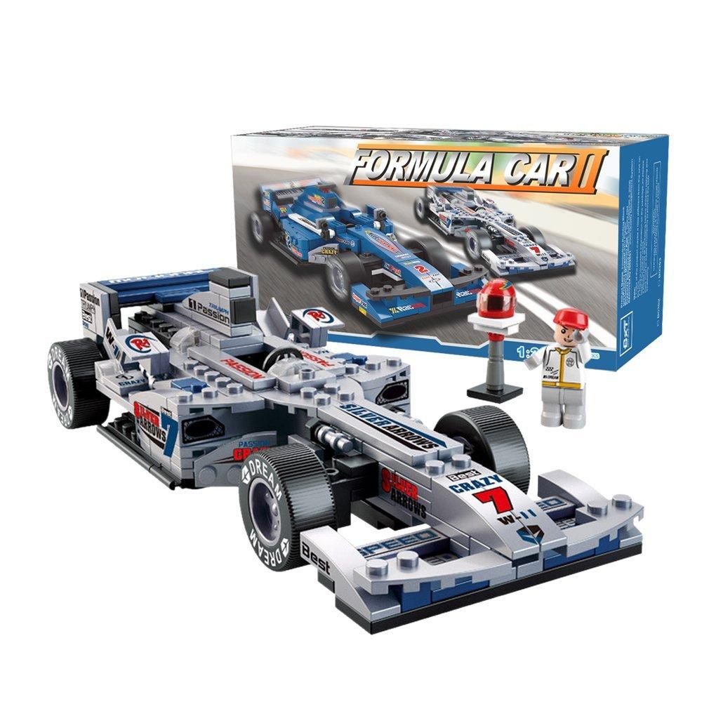 BXT Kids DIY Educational Assemble Toys Bricks Gift 1:24 Scale F1 Formula Racing Car Model 257pcs 3D Construction Building Block sets Compatible With minifigures(Silver Arrow)