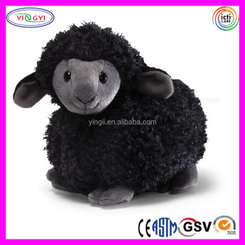 D583 Furry Round Sheep Soft Stuffed Animal Black Sheep Plush Toy