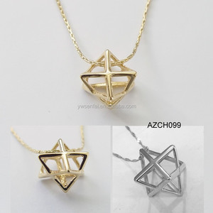 2016 hot selling wholesale custom gold color metal engraved merkaba pendant