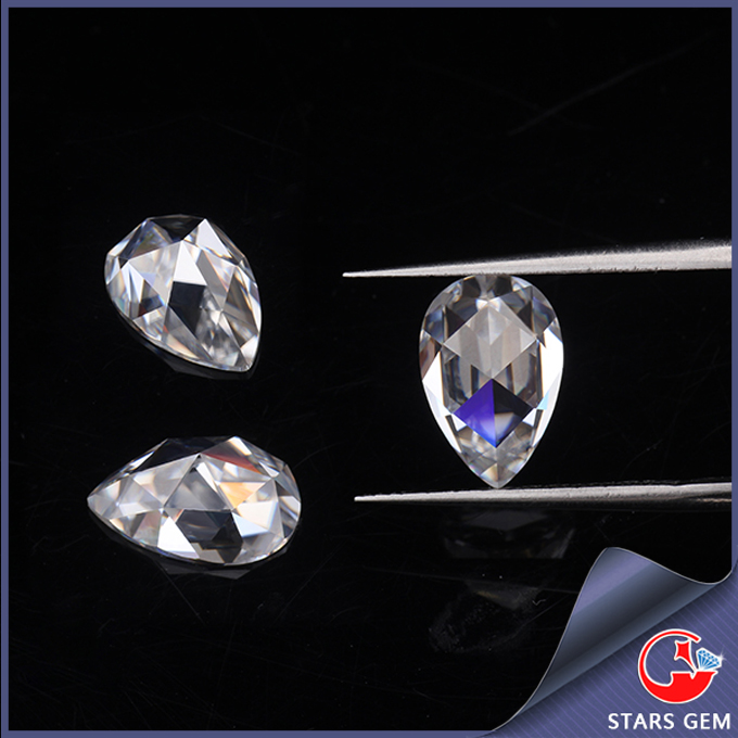 customized flat bottom excellent white quality pear rose cut moissanite