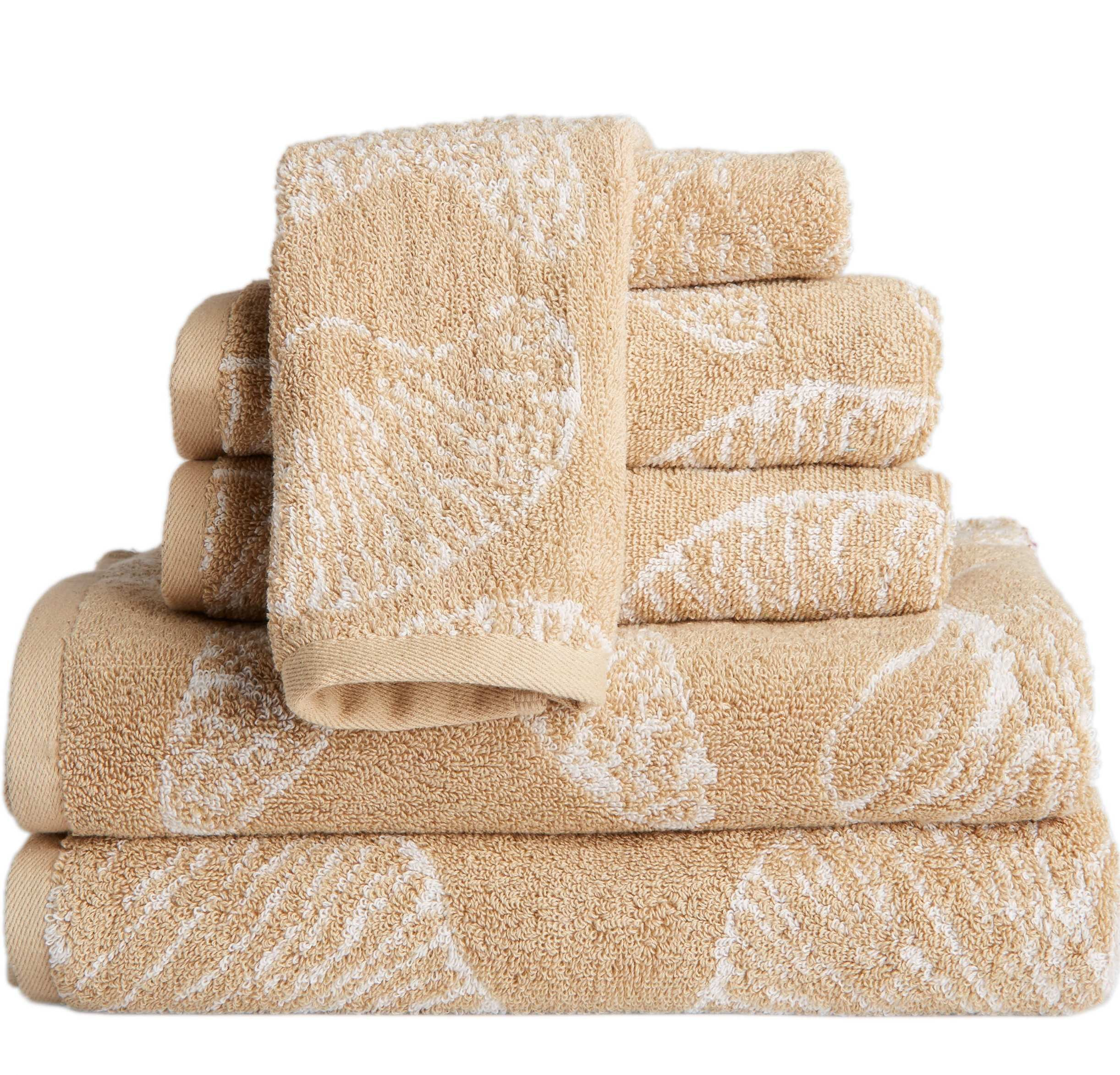 OV 6 Piece Beige Beach Theme Towel Set, Coastal Jacquard Nautical Sea Shell Pattern, Shells Motif Oversize Bathroom Towels Extra Long Soft Cozy Absorbent Wash Cloth Solid Color Bathroom, Cotton