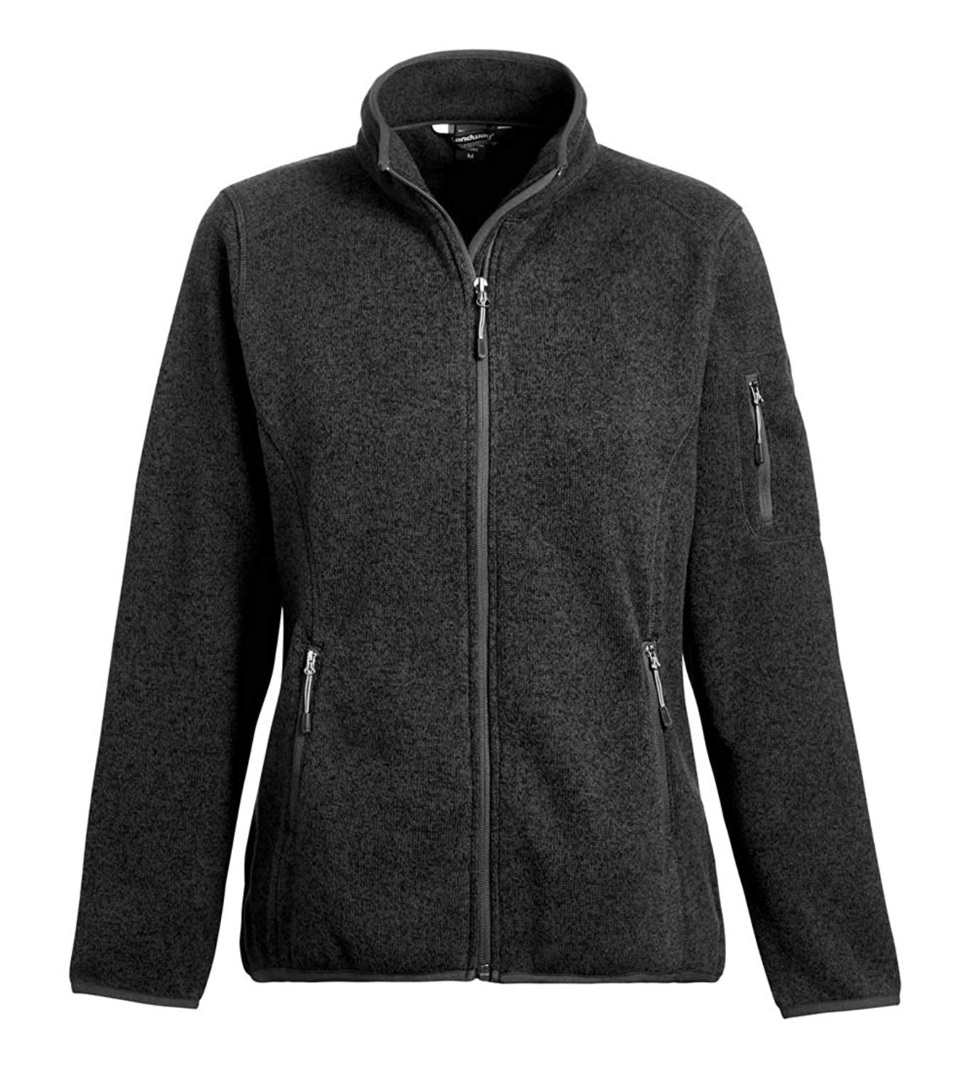 Landway Women's 2 Pockets Sweater Knit Fleece Jacket, Heather Black, X-Large