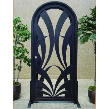 House Front Entry Round Top Wrought Iron Main Entrance Single Door on