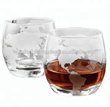 SIHPO06 Unique Wholesale Hot Heat Resistant Tasting Heavy Base 10oz Glass Etach Globe Wine Vodka Whiskey Liquor Cup