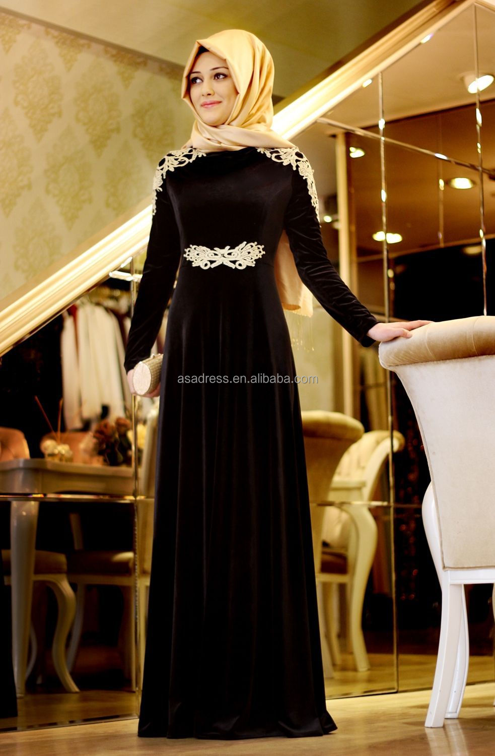 875feb577a795 ATE06 Latest Design Arabic Lady Gowns High Collar Long Sleeve Elegant  Appliqued Muslim Evening Dresses with