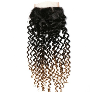 Adorable 1B/4/30 Three Tone Ombre Brazilian Kinky Curly Hair Lace Closure 4*4 Free Part Jerry Top Remy Human Hair Closure