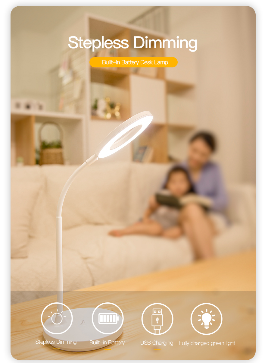 Rechargeable Study LED Desk Light Touch USB Table Lamp Eye Protection For Kids