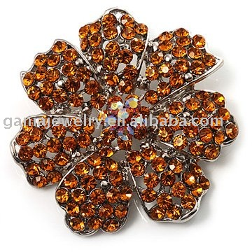 Fashion Jewelry Crystal 7 Petal Flower Brooch Jewerly