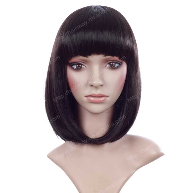 Black human hair simulate capello fiber great quality wigs