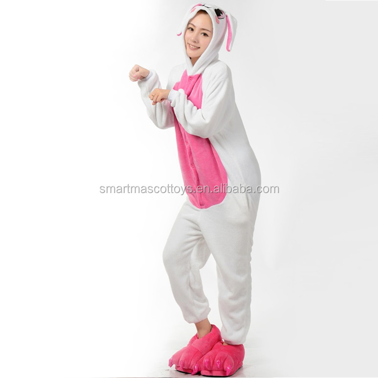 Comfortable thick warm flannel pink rabbit rabbit pajamas pink rabbit rabbit pajamas