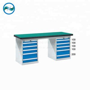 Adjustable Stainless steel workbench with Double five drawer cabinet L1500*W750*H800mm YH-WBH-1500-10