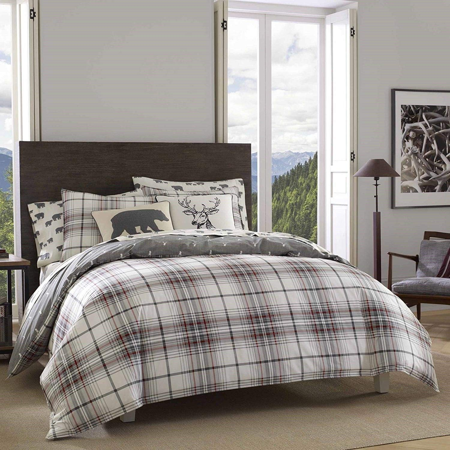 3pc Grey Plaid King Size Duvet Cover Set, Gray Horizontal Vertical Stripes Checked Bedding Cabin Themed Lodge Lumberjack Pattern Outdoors Country Squared Hunting Checkered, Cotton