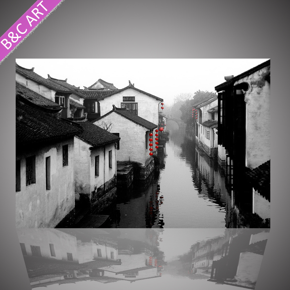 Modern famous black white painting scenery art picture for home decoration
