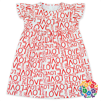 Cute Red Love Alphabets Printed Baby Flutter Sleeve Valentines Girl Dresses Kids Girls Boutique Wholesale Valentine's Day Dress