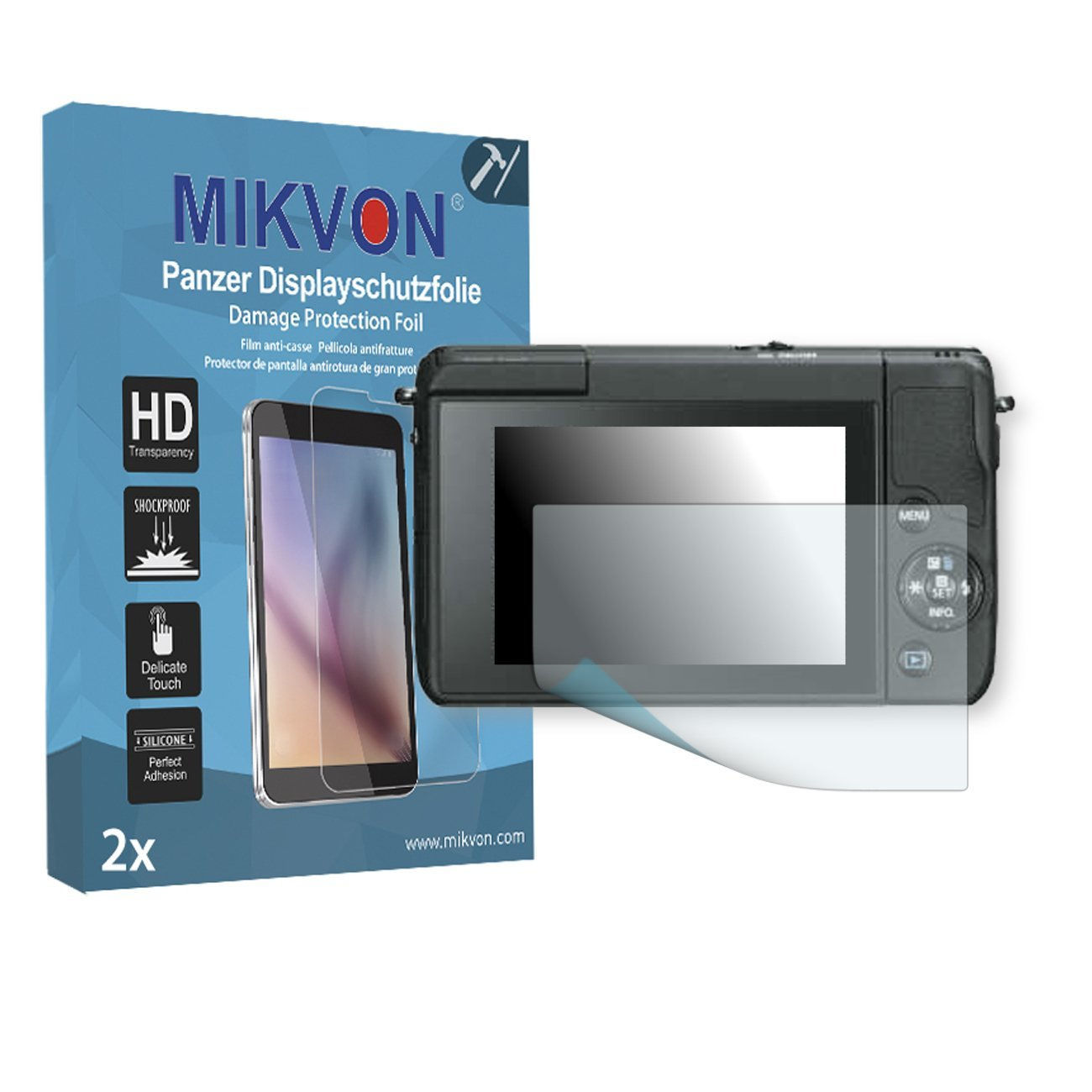 2x Mikvon Armor Screen Protector for Canon EOS M10 screen fracture protection film - Retail Package with accessories