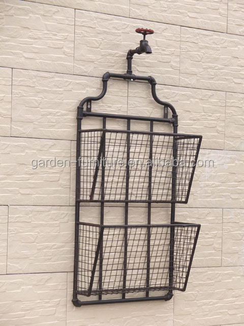 Office File Holder Metal Wall Mounted Newspaper Rack Antique Wrought Iron Magazine