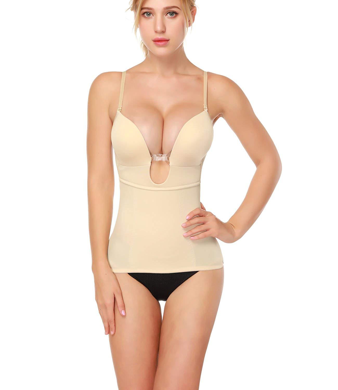 13d2acc5ddb3e Get Quotations · LANFEI Women s U Plunge Shapewear Bustier Backless Body  Shaper Camisole