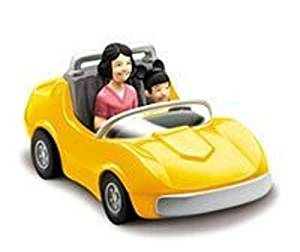 Chevron Cars Classic, The Autopia Cars, Disneyland, 2 Piece Set, Yellow Car with Removable Toy Passengers