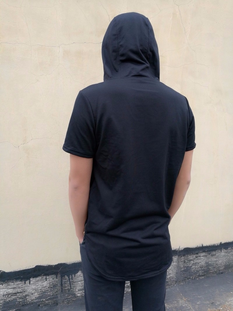 a2293e7dbc2 Moomphya Mens Hooded T Shirt Hipster Hip Hop Streetwear T Shirt Men  Longline Zipper T Shirts Short Sleeve Tees