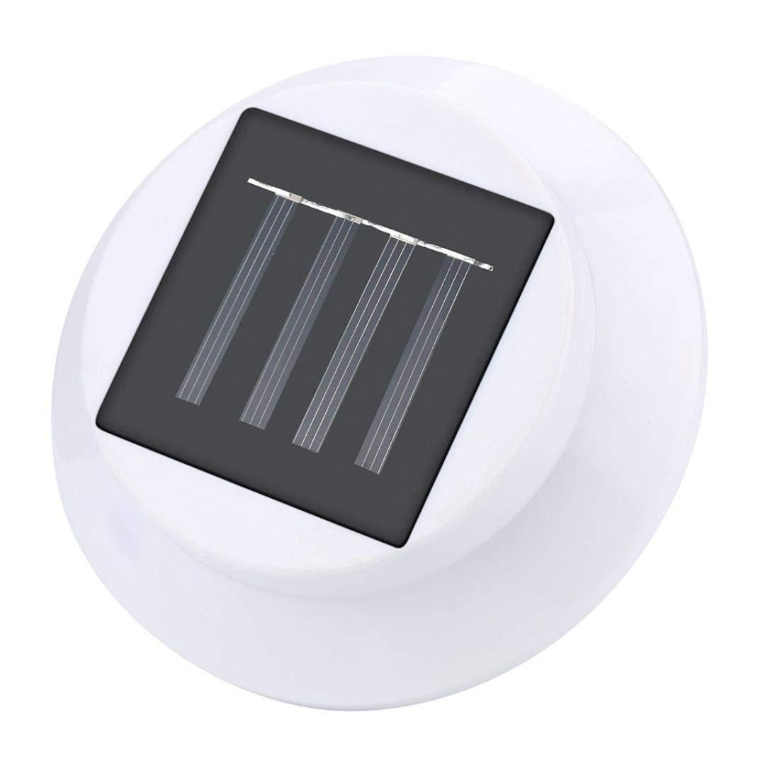 Solar Light, FTXJ New 4 LED Solar Powered Gutter Light Outdoor/Garden/Yard/Wall/Fence/Pathway Lamp (White Warm light, 12 x 6 cm)