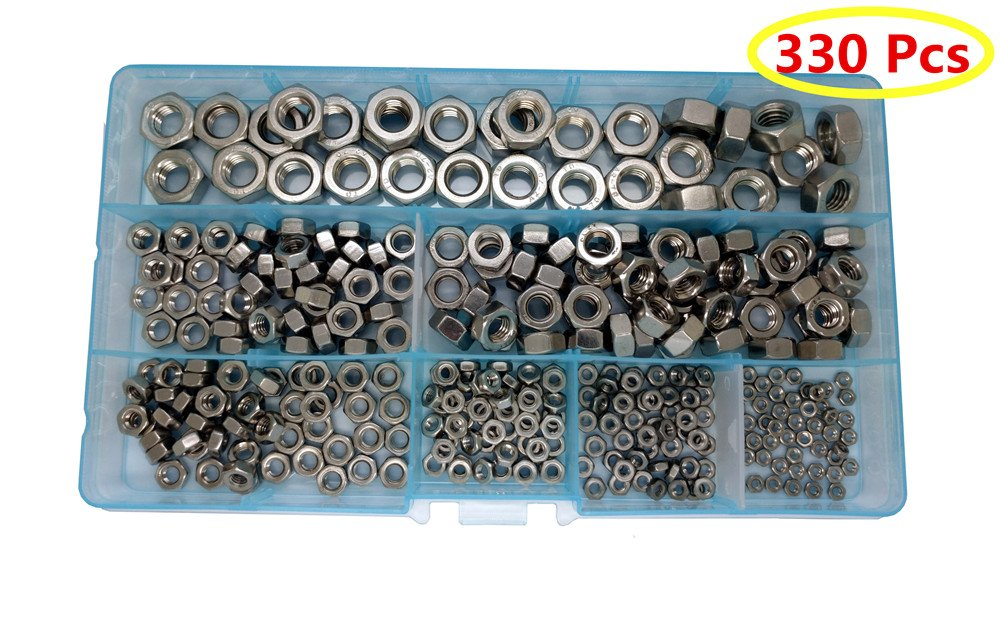 Guard4U 330Pcs 304 Stainless Steel Fastener DIN934 Hex Nuts Assortment Kit, For M2 M2.5 M3 M4 M5 M6 M8 screws bolt