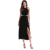 Women's Summer One-Shoulder Solid Color Office Gown Wrap Side Slit Midi Dress