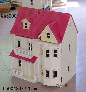 Mini Cute Diy Wooden Dollhouse Victoria Style Pink White Color For