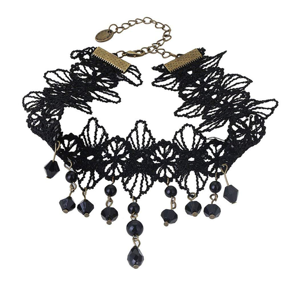 4d216f8375919 DARLING HER Sexy Gothic Chokers Crystal Black Lace Neck Choker Necklace  Vintage Women Chocker
