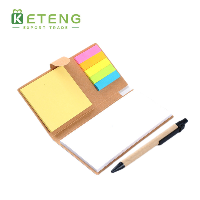 Promotional kraft embossed cover transparent sticky notes notepad with pen