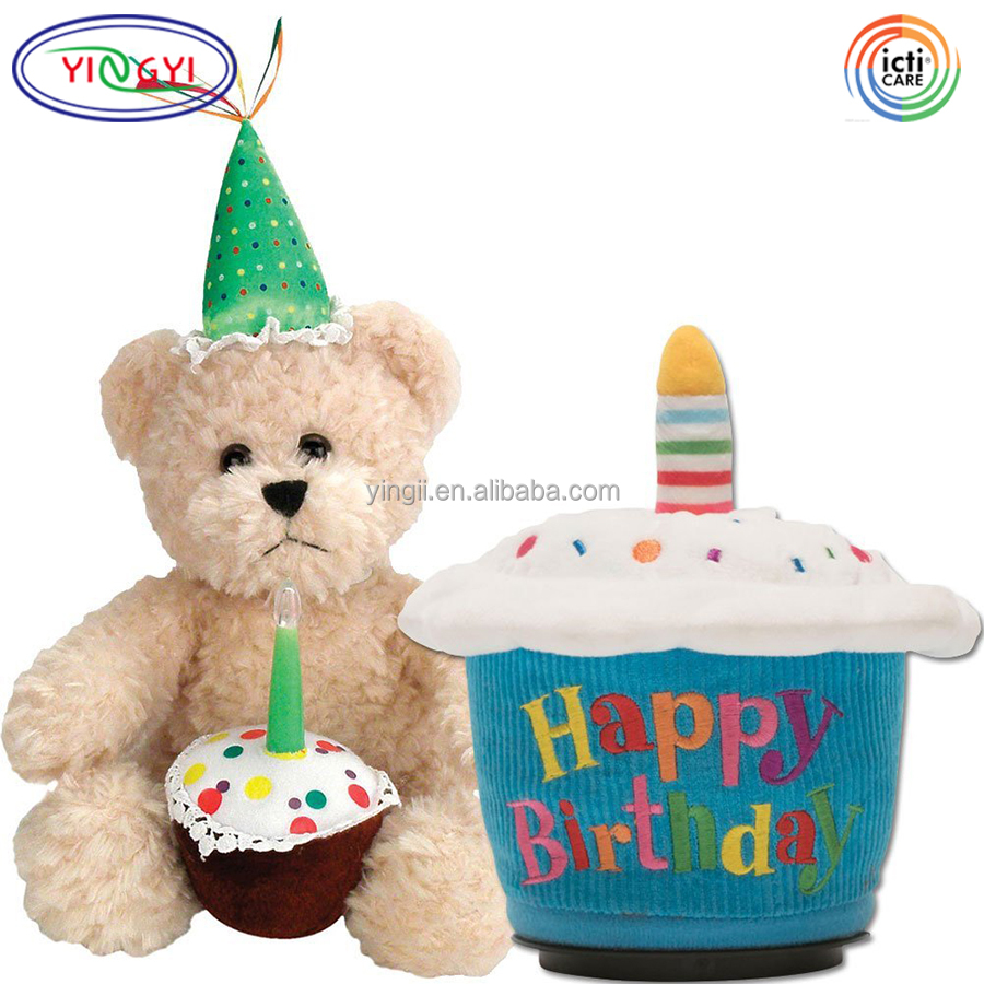 D197 Soft Blow Out Candle Cupcake Bear Plush Toys Happy Birthday Animated Battery Operated