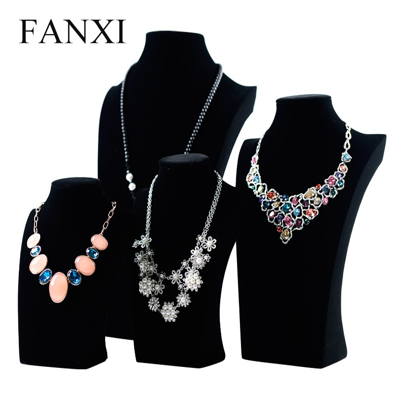FANXI Professional Custom Black Velvet Shop Exhibitor Neck Model Doll Jewelry Necklace Holder Display Mannequin Jewelry Bust
