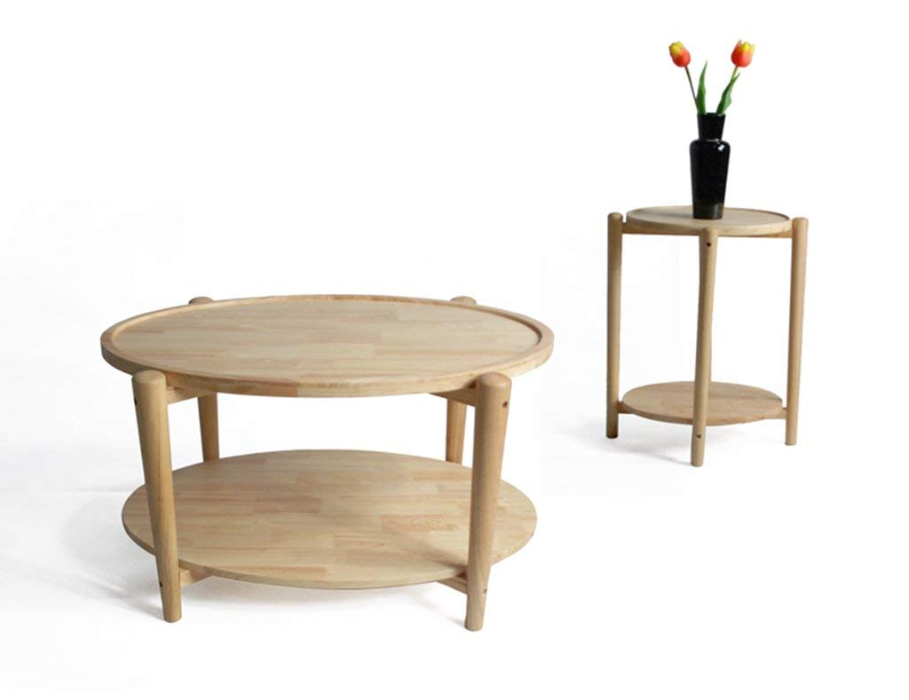 Mmdp Simple Oval Double Layers Tea Table Solid Wood Coffee Table Northern Europe Living Room Storage Corner Table (Color : Wood color, Size : 110cm45cm)