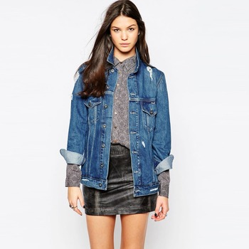 Long Style Young Girl Ripped Denim Jacket Women Cheap View