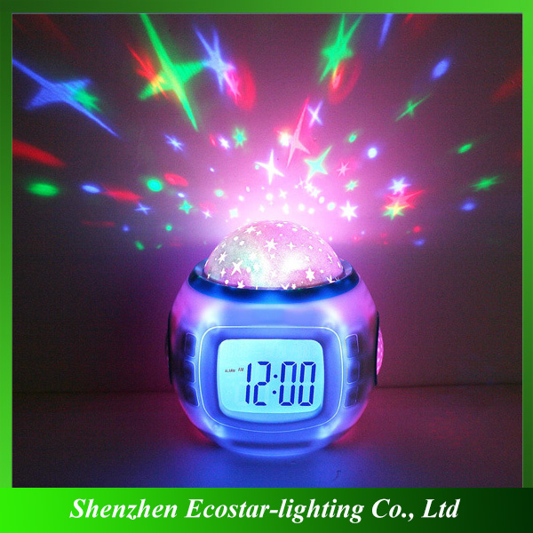 2016 creative gift desk clock with temperature/calendar/music/projection function
