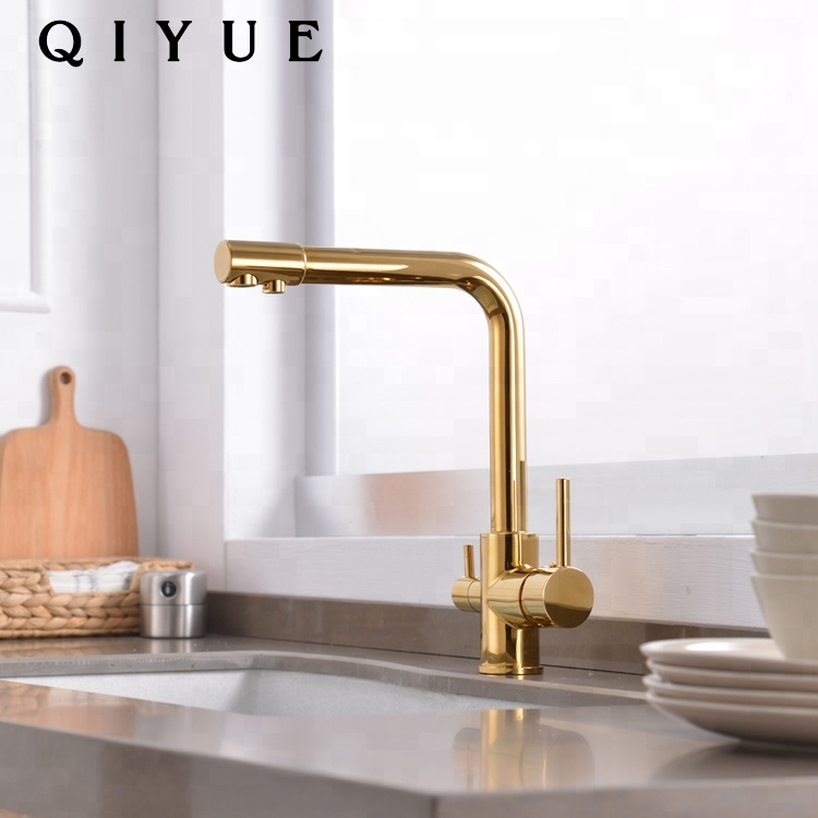 Modern Gold Plating Double Handle Single Hole 3 Ways Kitchen Faucet Mixer Tap