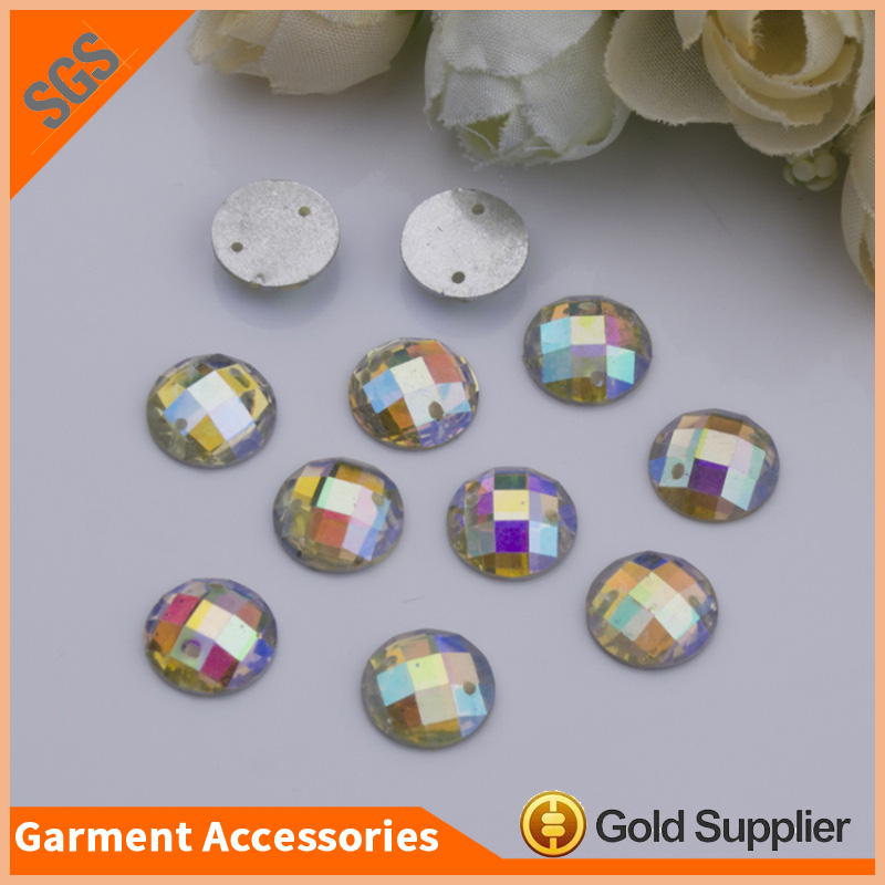 Hot Sale Round Flat Back Resin Stones Sewing Sparkle Resin Rhinestone