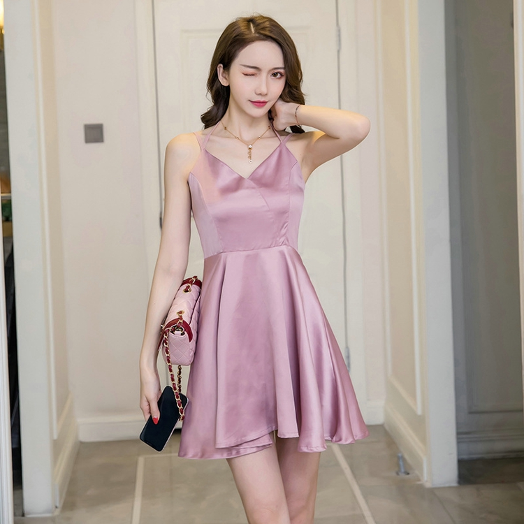 KEYIDI OEM Korean sexy halter strap solid dress