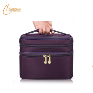 Double Layer Nylon Large Cosmetic Brush Case Travel Makeup Bag