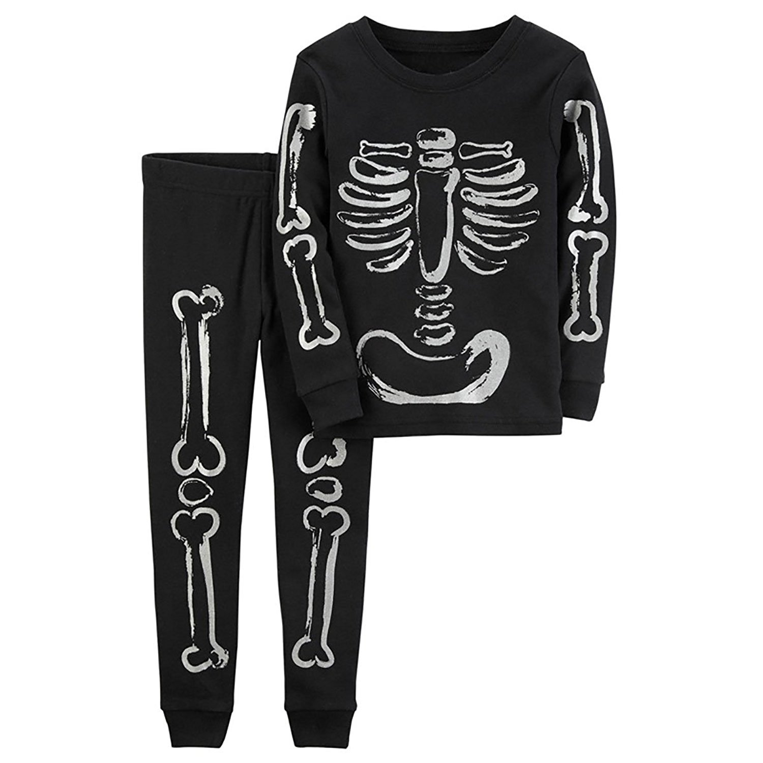 get quotations boys halloween skeleton pajamas toddler sleepwear kids pjs 100 cotton size 2 7t