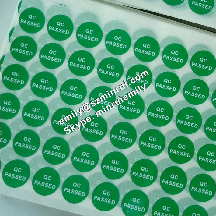 Custom green self adhesive qc passed stickers green round qc passed adhesive labels
