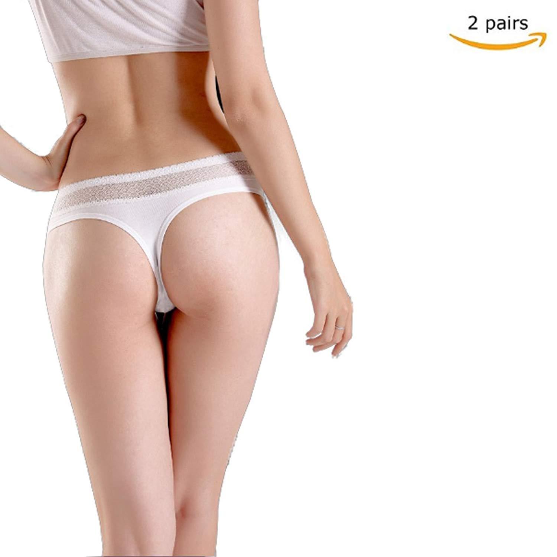978bbf24a Get Quotations · TEZIGO Women s Thongs Cotton Breathable Panties Bikini  Underwear T-Back Lacy Panties 2 Pairs