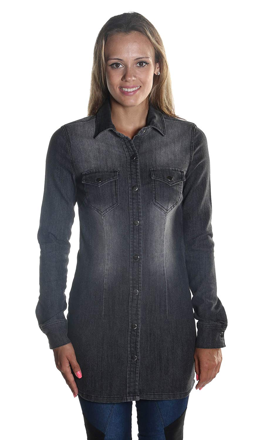 1d7d361d02c Get Quotations · Hadari Women s Long Sleeve Black Denim Button down Knee  Length Jacket