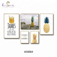 Pineapple image trendy decoration wall art canvas printing set